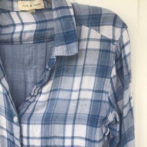 CLOTH & STONE * ANTHROPOLOGIE * BLUE PLAID SHIRT